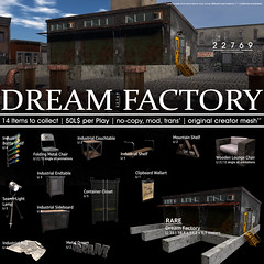 22769 - Dream Factory Gacha for Whimsical : May 2018 (manuel ormidale) Tags: gacha gachaevent event whimsical 22769 bauwerk 22769bauwerk factory dream building industrial rug closet shelf searchlightlamp clipboard chair foldingchair metal steal bottleshelf maountainshelf endtable animations mesh originalmesh pacopooley