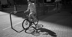 people in the city (Steve only) Tags: panasonic lumix dmcgf1 mzuiko digital 17mm 118 f18 1718 m43 bw ir infrared snap bike bicycle peopleinthecity
