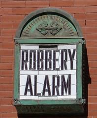 Alarmed (pam's pics-) Tags: ks kansas us usa america midwest smalltown pamspics pammorris mankatokansas architecture historic alarm burglaralarm sonya6000 redbrick bank business