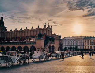 Krakow Main Market Square at Sunset