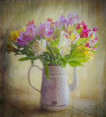 alstroemeria in enamel coffee pot (Rebecca at Bellesouth Studio) Tags: bellesouthstudio rebeccacook flowers enamelcoffeepot alstroemeria bouquet photography softness