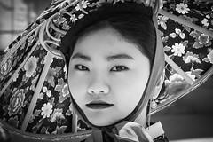 With hat (frank.gronau) Tags: korea black white weis schwarz beauty beautiful pretty porträt girl frau hat hut tradition seoul alpha sony gronau frank