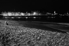 Beach at Night (evans.photo) Tags: dark sea blackandwhite seaside ceredigion night aberystwyth shadows waves beach wales