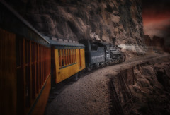 Over the Pass (brian_stoddart) Tags: trains transport sky dark tone tint steam manipulated railways usa colorado