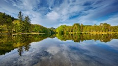 Spring colors, Norway (Vest der ute) Tags: xt2 norway rogaland haugesund water waterscape landscape lake reflections mirror trees sky clouds spring fav25 fav200