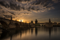 Sunrise at Charles Bridge - Prague (hjuengst) Tags: prag prague sunrise sonnenaufgang czechrepublic tschechien clouds wolken longexposure langzeitbelichtung silhouette charlesbridge karlsbrücke