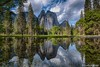 Yosemite Valley -  Cathederal Rocks_HDR_5106_07 (www.karltonhuberphotography.com) Tags: 2018 california cathedralrocks cathedralspires clouds exploring flora forest hdr horizontalimage invigorating karltonhuber landscape mountainpeaks mountaintops peaceful pond reflections rockformations seasonalpond sky trees wandering water weather wildplaces yosemite yosemiteconservancy yosemitenationalpark yosemitevalley