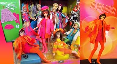 THE WILD BUNCH (ModBarbieLover) Tags: francie casey mod fashion 1970 1972 orange pink yellow fur knits dolls house mattel vintage boots tights brunette