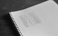 My life as a postgraduate (Flat-Spin) Tags: d76 kodaktrix pentaxk1000 800iso procrastination writersblock handwriting bw