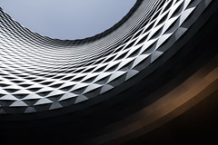 Crater (Robert_Franz) Tags: architecture architectural architektur basel modern detail minimalistic fineart exterior lookup urban city colors futuristic building abstract design facade geometry