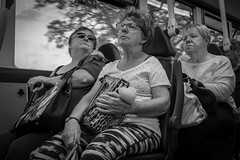 On the bus. 16A Durham to Newcastle. Go North East buses. (CWhatPhotos) Tags: cwhatphotos woman bus journey seated bw glum look three tri 2018 may go northern buses digital camera pictures picture image images photo photos foto fotos that have which contain olympus omd em10 mkiii durham north east england uk people