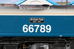 66789 'British Rail 1948 - 1997' (Jacob Tyne) Tags: class 66 667 66789 br british rail 1948 1997 large logo 6g12 1515 dorchester south eastleigh east yard gb railfreight gbrf gbrailfreight