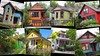 Funky Portland House Colors (PDX Bailey) Tags: weird unusual color colorful montage collage oregon portland pdx houses house bright red blue yellow orange green funky
