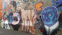 278 Laurier Ouest Graffiti (Coastal Elite) Tags: mileend alley north parc avenue montreal ruelles ruelle alleys alleyway alleyways graffiti walking montréal streetart urban city life street art urbain mile end 278laurier laurier colors colorful monosourcil mono vampire character face