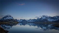 Lofoten mountains (Frank S. Andreassen) Tags: lofoten mountains moon evening reflections snow spring calm fjord sea water norway nordnorge nature blue sky