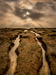 Channels to the Sea (adrians_art) Tags: coast coastal shore beach rocks sand water sea sky clouds rays tidal tide reflections sunset birlinggap eastsussex uk englishchannel england light dark yellow red gold orange amber