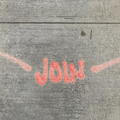 suggestion or command? (MyArtistSoul) Tags: join orange dayglo paint concrete sidewalk texture groove handlettering outdoors simple symmetry minimal urban square 1703 iphone7