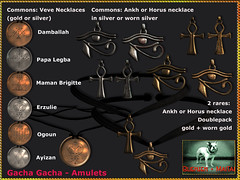 Bliensen + MaiTai - Amulets - Gacha Gacha (Plurabelle Laszlo of Bliensen + MaiTai) Tags: gachagacha fantasygachacarneval bliensen secondlive sl jewelry amulet voodoo vodoun papalegba mamanbrigitte erzulie damballah veve symbol ankh horus egyptian egypt eyeofhorus anch necklace choker fantasyjewelry