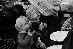 Grandpa (and Grandma). (wimjee) Tags: nikond7200 nikon d7200 afsdx55200mmf456gvrii montfort limburg nederland rommelmarkt rommel trödelmarkt garagesale zwartwit blackwhite zw bw monochrome silverefexpro2