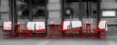 take a break - have a seat in Munich (Patrik S.) Tags: münchen munich germany deutschland schwarzweiss blackandwhite bw red rot stühle tische tables chairs relax coffeebreak pause break essen food drinks restaurant frei leer empty free panasonic adobe lightroom retro unsharp unscharf lumix fz1000 bayern bavaria dinner lunch breakfast frühstück mittagessen menu menü speisekarte gartenwirtschaft wolldecke cover kalt cold februar february winter europa europe gehsteig pavement ngc