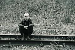 Marie # 8 (just.Luc) Tags: vrouw femme frau donna mujer woman young jung jong jeune sporen railwaytracks spoor metal metaal portret portrait ritratto retrato porträt belgië belgien belgique belgica belgium puurs kleinbrabant vlaanderen flandres flanders blond blonde monochrome monochroom monotone
