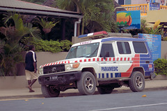Ambulance in Luganville, Vanuatu (CooverInAus) Tags: vanuatu number license registration motor vehicle automobile plate luganville espiritu santo ambulance donated victoria australia toyota landcruiser troopcarrier emergency paramedic