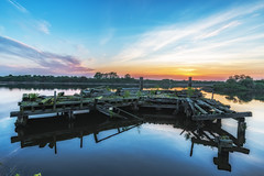 Jetty on the Manchester Ship Canal. (Ade McCabe) Tags: manchestershipcanal water sky jetty sunrise nikon tamron boatmuseum industry cheshire ellesmereport