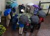 Rainy morning in Kinsale (JohnMawer) Tags: ireland eire rain umbrella group raincoat kinsale countycork map tour guide history