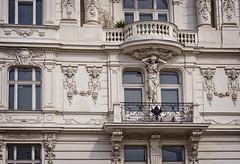 House in Linken Wienzeile (a street in Vienna) (Tiigra) Tags: wien austria at 2017 architecture balcony city column face lattice lion monochrome neobaroque ornament plant sculpture statue vienna window art pattern