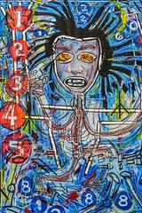 art market san francisco 2018 #17 (pbo31) Tags: bayarea california nikon d810 color april spring 2018 boury pbo31 art artmarket fortmason sanfrancisco pavillion festival blue modern contemporary monster oil canvas draw paint brush