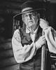 Texan rancher.jpg (Stephen B Jessop) Tags: 2018 olympus historic logcabin rancher mono georgeranch houston stephenbjessop em5mk2 hat man texas usa portrait oldtimer blackandwhite gun cowboy