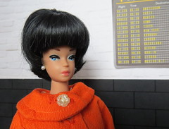 At the airport (Foxy Belle) Tags: vintage barbie doll fashion queen handmade coat airport travel diorama 16 scale beehive wig black blossom white bags