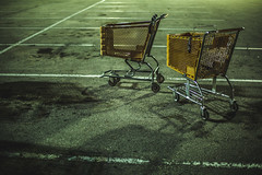 Discarded (3rd-Rate Photography) Tags: cart shoppingcart trolley bacteria parkinglot green yellow canon 50mm 5dmarkiii jacksonville florida 3rdratephotography earlware 365