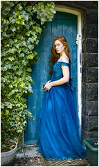 Jenny (Charles Connor) Tags: jenny girls beautifulgirls beauty beautifulcapture bluedress bluedoor portraits hair redhair canon5d3 canonef50mm18lens