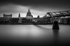 Millennium Bridge & St Paul's Cathedral (lja_photo) Tags: millenniumbridge street streetphotography sky skyline shadows stream stpaulscathedral architecture architectural art artificial abstract white water europe exploration exposure england river reflections reflection travel tourism textures tower themse haze urban uk outdoors photography noperson dramatic detail design fineart fujixt20 light landscape landmark longexposure clouds contrast city cityscape church viewpoint black blackandwhite bw bnw blackandwhitephoto buildings bridge monochrome monotone monoart moody blackwhite