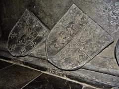 ca. 1443-1459 - 'Johann II von Loon-Heinsberg (+1438), wife Margaretha van Gennep (+1419) & son Johann III von Loon-Heinsberg (+1443)', St. Gangolfkirche, Heinsberg, Nordrhein-Westfalen, Germany (RO EL (Roel Renmans)) Tags: effigy gisant tomb grabmal grafbeeld grafmonument efigie heinsberg loon looz count graf comte johann johan jan jean john margaretha margarete margarethe gennep 1419 1443 1438 1459 1458 gangolf church kirche st sankt sint saint église gangolfkirche nordrhein westfalen arms armor armour plate armure rüstung harnas armadura surcotte surcoat waffenrock wappenrock sword standard mail crop hair tilting helm tournament tumba funéraire monument kerk german deutsch rhein knight ritter chevalier ridder graaf noble grave tassets