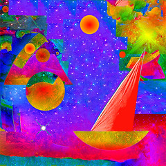 Voyage to the Stars (ICARUSISMARTDESIGNS) Tags: abstract simple landscape vintage trendy cool travel nature retro fantasy sailing stars color art voyage ocean sea modern psychedelic cosmic red blue other sails boat transport adventure planets geek sky gently calm meditation metamorphosis pattern sail wind journey digital galaxy universe