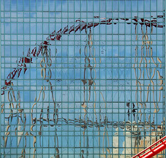 Wild Ride (studioferullo) Tags: abstract architecture art beauty bright building colorful colourful colors colours contrast dark design detail downtown edge light minimalism outdoor outside perspective pattern pretty scene sky study sunlight sunshine street texture tone world rollercoaster lasvegas nevada strip reflection lines curve glass window