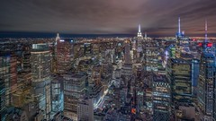 Big city (karinavera) Tags: city longexposure night photography cityscape urban ilcea7m2 sunset nyc cloudy topoftherock aerial manhattan view newyork