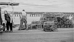 Amble . (wayman2011) Tags: fujifilmxf35mmf2 lightroomfujifilmxpro1 wayman2011 bw mono coast harbours people fishermen lobsterpots northumberland amble uk
