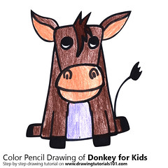 Donkey for Kids (drawingtutorials101.com) Tags: donkey for kids cartoon animals easy step by draw drawing drawings color colors coloring how sketching sketch speeddrawing speed