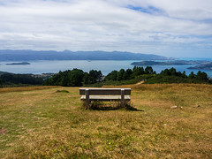 P1070611 (wandersfound) Tags: wellington newzealand hiking bench water harbour