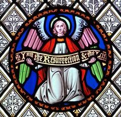 Bibury, Gloucestershire - St Mary's Church - Stained Glass (Glass Angel) Tags: bibury gloucestershire stainedglasswindow stmaryschurch williamwailes angel