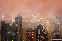 A Foggy Night in Hong Kong *A Popular Landmark* (iLOVEnature's Photography Inspiration) Tags: afoggynightinhongkong apopularlandmark mist misty fog foggy buildings building night nightview nature landscape macro sunset dusk twilight victoriapeak light lighting new city cityscape urbanlandscape urban sky skyline skyscraper water