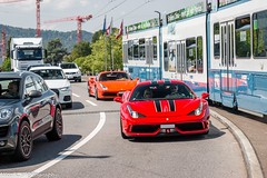 458 Speciale & 488 Spider (Nico K. Photography) Tags: ferrari 458 speciale red 488 rosso dino orange supercars combo nicokphotography switzerland zürich spider