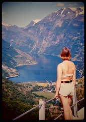 Wife at Geiranger in Norway, 1974... (iEagle2) Tags: woman wife summer srt101 seventies norway norge geiranger fjord female femme frau film slide ehefrau