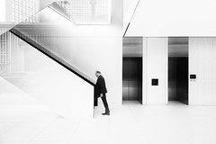 Inception (TS446Photo) Tags: street candid office reflection mono blackandwhite work stairs lift