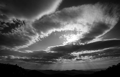 Clouds and Mountains Along the Blue Ridge Parkway, North Carolina (nsandin88) Tags: a7rii exploration sony canon godray explore clouds blueridgeparkway northcarolina godrays blackandwhite sky nc nationalparks blueridge sonya7rii park nationalpark canonl canonlens nps