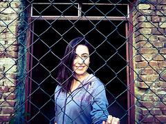 Purple (filip.avramovic2002) Tags: portrait fence purple door frame doorframe gate girl woman bricks dark blue sister lovely traped violet hair freedom free