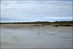 Low tide access (catb -) Tags: clifden galway omey island car strand beach tide track road sign signpost